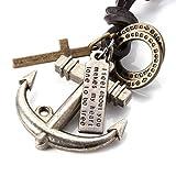 Verstellbare Vintage-Halskette aus Echtleder von MENDINO für Herren, mit nautischem Anker- und Kreuzanhänger