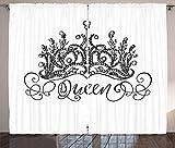 ABAKUHAUS Königin Rustikaler Vorhang, Kronenbeschriftung Barock, Wohnzimmer Universalband Gardinen mit Schlaufen und Haken, 280 x 260 cm, Weiß und Schwarz