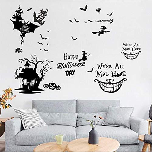 Hyllbb Happy Halloween Hexe Ghost Bat Katze Wandaufkleber Für Wohnzimmer Fensterglas Lächeln Gesicht Decor Home Vinyl Wandbild Wandkunst Aufkleber 52 * 60 Cm (Halloween Katze Diy Für Gesicht)