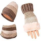 MERRYHE Frauen Mädchen Gestrickte Mützen Hut Handschuhe Schal Sets Winter Halswärmer Schals Häkeln Hüte Headwear Cap,Khaki-OneSize