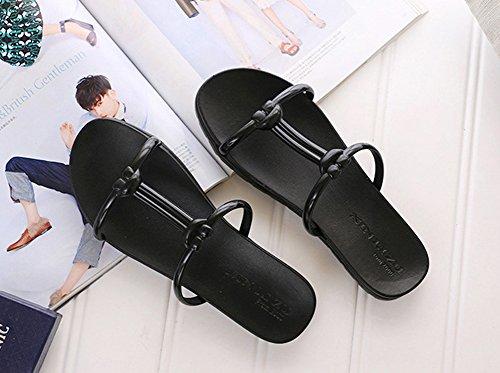Minetom Donna Estate Plastica Sandali Infradito Sandals Delle Signore Spiaggia Piscina Slippers Pantofole Nero