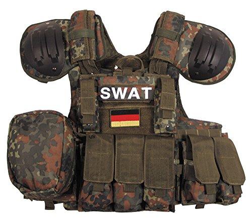 """Weste, """"Combat"""" diverse Taschen, flecktarn, größenverstellbar"""