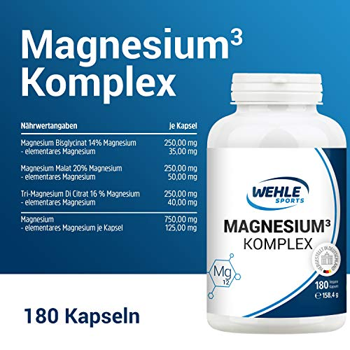 Premium Magnesium Komplex – 2250mg davon 375mg elementares Magnesium Hochdosiert pro Tagesdosis – 180 Vegane Kapseln – Magnesiumbisglycinat Magnesiumcitrat Magnesiummalat - 5