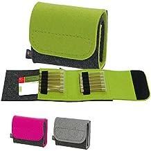 ebos Homeopatía botiquín de bolsillo, botiquín de viaje, bolsa para glóbulos de fieltro gris/amarillo verdoso con 12 trabillas