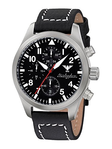 KHS Mens Watch Analogue Quartz with Leather Wrist Band KHS.AIRSC.LBB