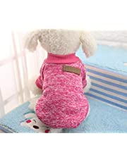 MySheru Dog Sweaters, Warm Clothes, Soft and Warm Cloth for Cat Pink - XXL