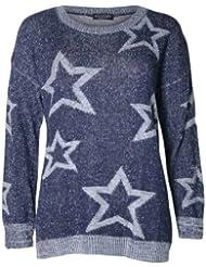 (womens multiple star blue fleck knitted jumper (m8) Femmes multiples étoiles bleu tricoté cavalier