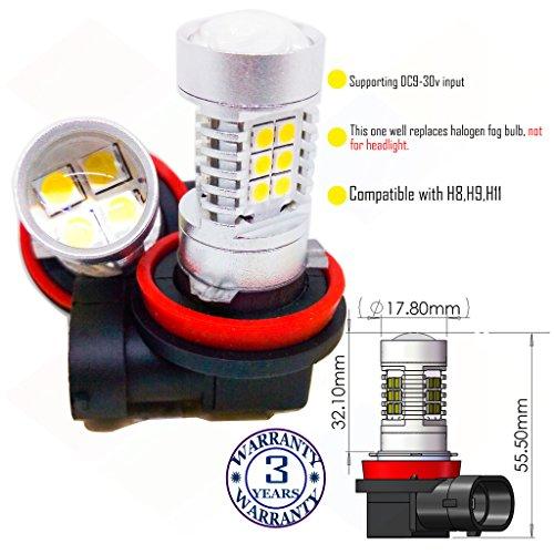 Preisvergleich Produktbild Wiseshine 8000k H8 LED-Nebelscheinwerfer lampen DC9-30v 3 Jahre Qualitätssicherung (2 Stück) H8 22smd 3030 Kaltes Weiß