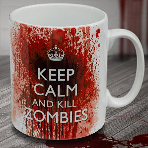 "verytea - Tazza di porcellana, effetto insanguinato, motivo: ""Keep Calm and Kill Zombies"""