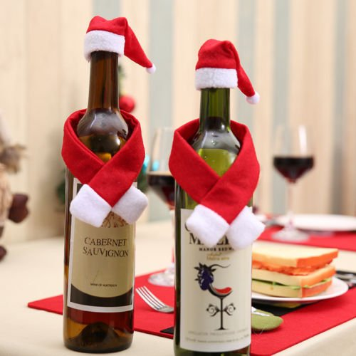 PANGUN Christmas Santa Clothing Hut Scarf Wine Flastle Cap Cover Geschenk Dekoration Weihnachts-Hüte (Dekoration Cap Santa)