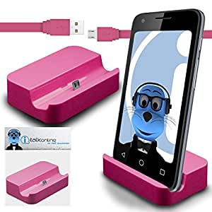 iTALKonline Microsoft Lumia 550 Pink Micro USB Sync & Charge / Charging Desktop Dock Stand Charger with 1.2 meter High Quality FLAT USB to MicroUSB Sync and Charge Cable