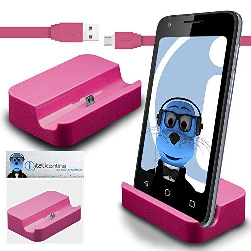 Preisvergleich Produktbild iTALKonline LG Optimus Chat C550 Rosa Micro USB Sync & Charge / Lade Desktop Dock Standplatz Ladegerät mit 1,2 Meter hohe Qualität FLAT USB zum Mikro-USB Sync und Ladekabel