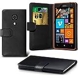 (Schwarz) Nokia Lumia 625 Schutzfolie Faux Credit / Debit Card Leder Book Style Tasche Skin Case Hülle Cover, Aus- und einfahrbarem Touchscreen Stylus Pen & LCD-Screen Protector Guard von Spyrox