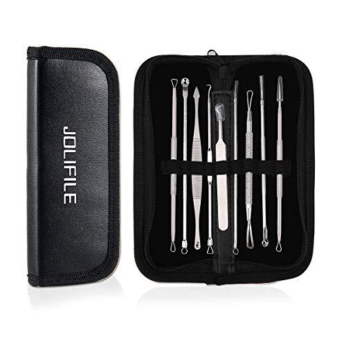 JOLIFILE 9 Stücke Mitesser Entferner Extractor Pinzette Werkzeug, Akne Pickel Extractor Mitesser Removal Tools Kit Behandlung für Makel Risikofreie Nase Gesicht Haut ...