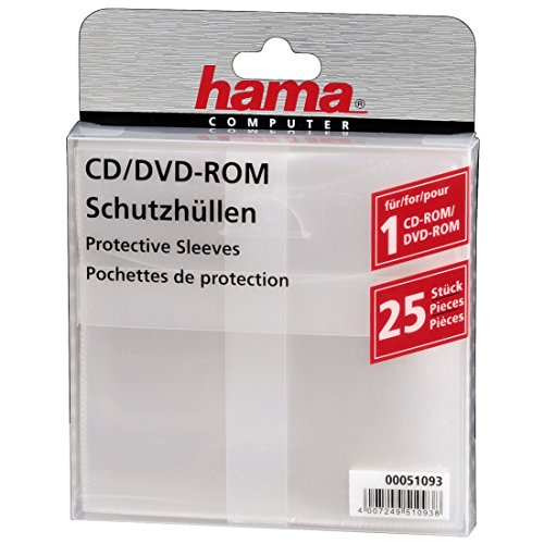 Hama CD-Rom/DVD-Rom/Blu-ray Schutzhüllen (Slim-Design, Sleeve aus Kunststoff, 25 Stück) transparent (Sleeve 18.5)