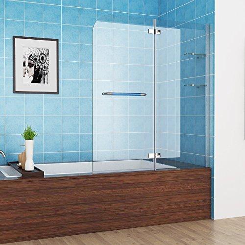 100-120 x 140 cm Badewannen 2 tlg. Faltwand Aufsatz 180° Duschwand Duschabtrennung NANO Glas mit Handtuchhalter (120cm)
