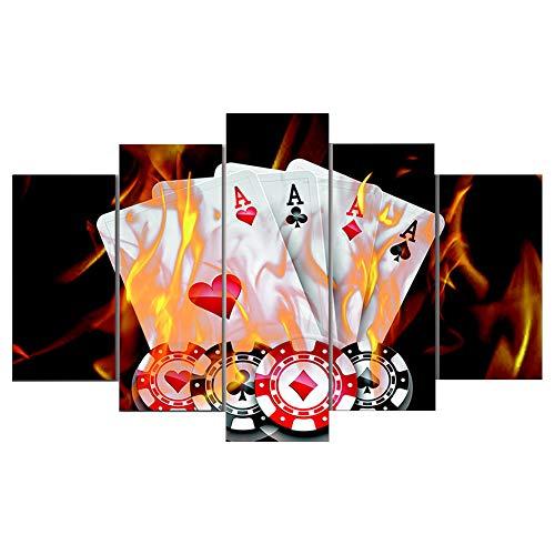 uck Rahmen Wandkunst Arbeit Bild Dekoration 5 Stücke Flamme Poker Chips Schwarz Hintergrund Dekoration Kunst Malerei ()