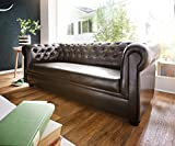 DELIFE Couch Chesterfield Braun 3-Sitzer Sofa Abgesteppt Gepolstert
