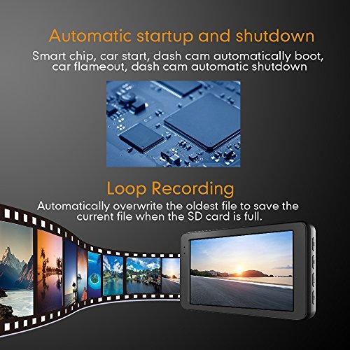 Mibao Dash Cam per Auto Telecamera Auto Dashcam 1080P con 3.0″ LCD, 170 Gradi, 6 Glens, G-Sensor, WDR, Rilevazione di Movimento, Registrazione in Loop, Monitor di Parcheggio - 5