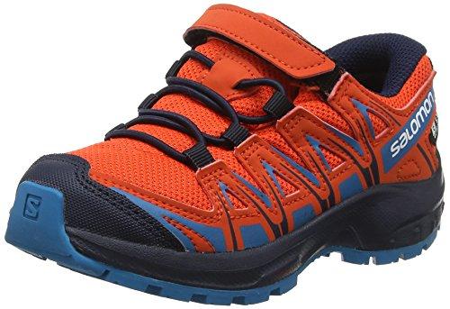Salomon Kinder XA Pro 3D CSWP J, Trailrunning-Schuhe, Wasserdicht, rot (cherry tomato / navy blazer / fjord blue), Größe 29