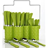 Planet Trendy Emperor Cutlery Set - Spoon Set - Spoon Stand - 25-Pieces - Green