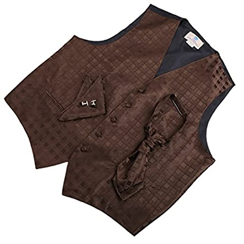 VS2024-2XL Marron ? carreaux Gilets de manchette Mouchoir ??Ascot Cravate par Y&G