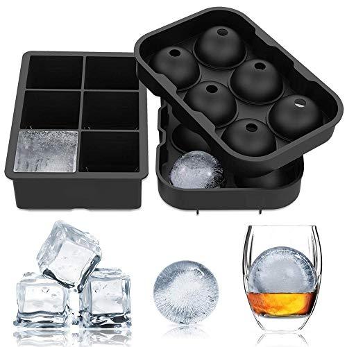 JG Silikon-Eiswürfelschalen (2er-Set) 6 Giant Ice Ball Würfelbereiter Für Kinder mit Candy Pudding Jelly Milk Juice Schokoladenform oder Cocktails Whisky