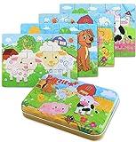 BBLIKE Jigsaw puzzle in legno giocattolo in una scatola per i bambini, confezione da 4 con variazione di difficoltà strumento di apprendimento migliore regalo di compleanno per i ragazzi Ragazze (fattoria)