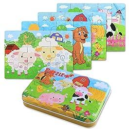 BBLIKE Jigsaw Puzzle in Legno Giocattolo in Una Scatola per i Bambini, Confezione da 4 con variazione di difficoltà Strumento di apprendimento Migliore Regalo di Compleanno per i Ragazzi Ragazze (G)