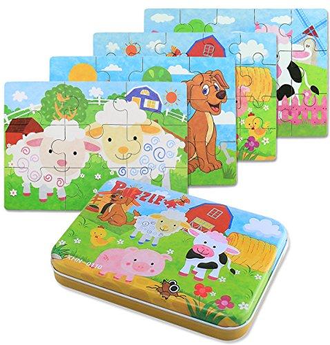 BBLIKE Jouet Puzzle en Bois pour Enfants, 4 Niveaux de Difficulté Différents, 9 Pièces, 12 Pièces, 15 Pièces, 20 Pièces, Jouet Éducatif Parfait pour Garçons Filles de 2 Ans + (Animaux de la Ferme)