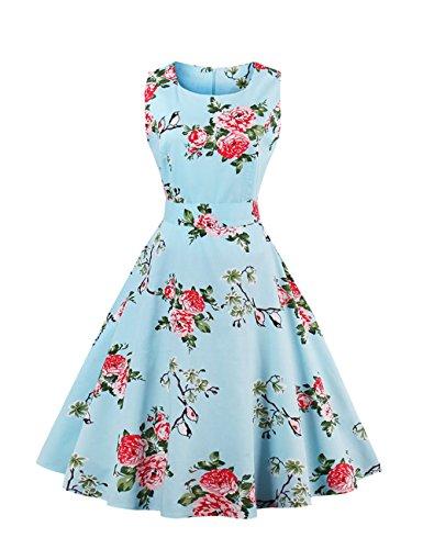 VKStar® Vintage Kleidung Damen 50er 60er Rundhalsausschnitt Hepburn Kleid Retro Damen ärmellos Abendkleid Rockabilly Blau M