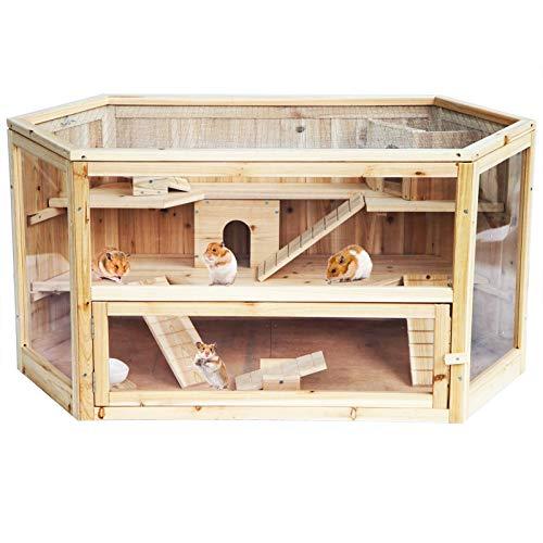 EUGAD Hamsterkäfig Rattenkäfig Nagerstall Kleintierkäfig Mäusekäfig Nagervilla 2 Stöckige Holz 0035HT