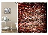 Amody 3D Digitaldruck Wand Ziegel Duschvorhang Bad Vorhang Durable Wasserdicht Bad Vorhang Ziegelrot Größe150X200