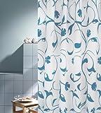 DUSCHVORHANG JARDIN blau 180cm breit x 200cm lang Textil ohne Ringe hellblau weiß Blumen-Muster
