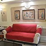 Prettygood7 3 Sofabezug, abnehmbar, gesteppt, für Couch und Haustiere, mit Gurt, rot