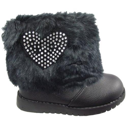 UKFS fourrure pour fille hiver neige pour chaussures montantes de brevet - Black with Heart