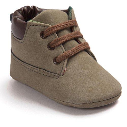 FNKDOR Baby Jungen Mädchen Lauflernschuhe Rutschfest Weiche Schuhe für Neugeborene 0-18 Monate (6-12 Monate, Braun)