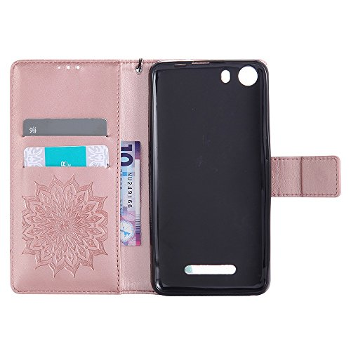 Für Wiko Lenny 2 Fall, Prägen Sonnenblume Magnetische Muster Premium Soft PU Leder Brieftasche Stand Case Cover mit Lanyard & Halter & Card Slots ( Color : Brown ) Rose Gold