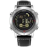 Herren Quarz-sockenuhr, jeiso Bluetooth Smart Watch Digital Uhr echtes Leder Handgelenk Band Fitness Schrittzähler Kalorien Outdoor Wasserdicht Schwimmen Sport Smartwatch, silber