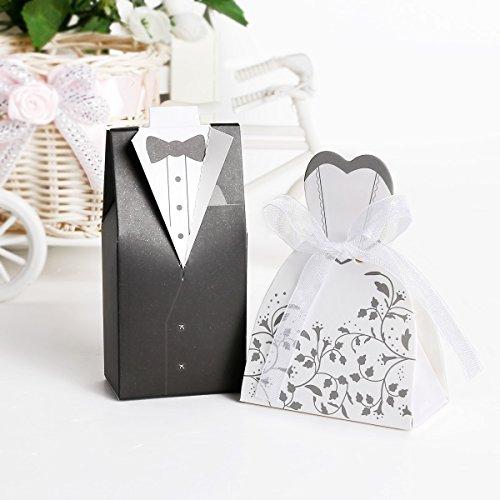50 Paar Hochzeit Brautkleid Entwurf Gastgeschenk Geschenkbox Bonboniere Box Schachtel Kartonage...