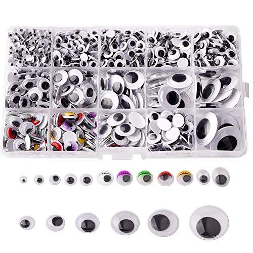 1100 Stücke Kunststoff Selbstklebend Puppe Augen Wiggle Glubschaugen Wackelaugen für DIY Scrapbooking Handwerk Spielzeug Zubehör (Verschiedene Größen)
