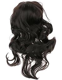 Geschnitzt Voller Perücken Langen Lockigen Haaren Flauschigen Wellige Perücken Dunkelbraun