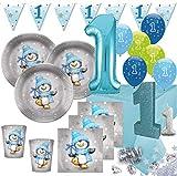 Kids Party World XXL 71 Teile Erster Geburtstag Deko Set Pinguin Junge in Hellblau und Silber 16 Personen 1. Geburtstag