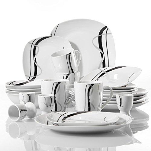 VEWEET Geschirrservice 'Fiona' aus Porzellan 20 teilig | für 4 Personen | Frühstückservice mit je 4 Eierbecher, Kaffeebecher 350 ml, Müslischalen, Dessertteller und Flachteller