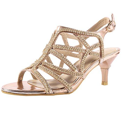 SheSole Damen Knöchel-Riemchen Heels Sandalen Strass Riemchensandaletten Hochzeit Schuhe Gold 39 Caged High Heel