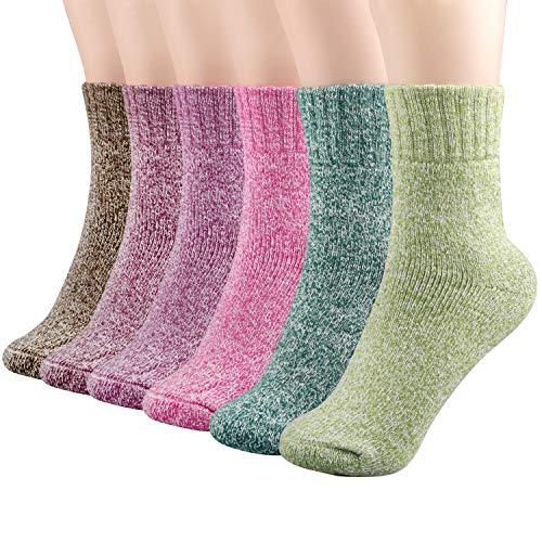 6 paia calze, calzini invernali, super spessa morbida maglia lana caldo inverno calze equipaggio, casual inverno vintage Cold Lane calze di cachemire per le donne