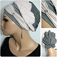 Beanie Mütze Ballonmütze Crash Rosa Grau Silber mit Band Lurex little things in life Chemo Cap Hat Chemomütze Mütze bei Krebs Kopfbedeckung Turban
