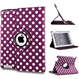 BLUETECK(TM) PU Leather 360 degree rotation Polka Dot iPad case for Apple ipad 2 / 3 / 4 Retina display, Free Stylus - PURPLE