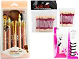 Personal /Professional Make up Utility Combo=5Pcs Make up Brushes Set+Eye Shadow Aplictor +Eye Lash Curler +Eye Lah Curler Replacement Pads