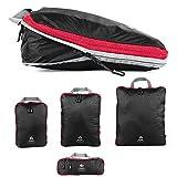 Outdoor Panda Packtaschen Set mit Kompression | ultraleichte Packwürfel für Rucksack und Koffer | Wasserabweisende Compression Packing Cubes als Gepäck Organizer und Kleidertasche (Schwarz, 1 x L)